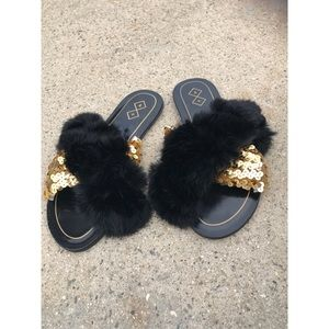 Shoes - Furry gold sequin slippers